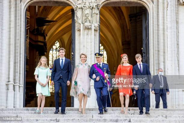 King Philippe of Belgium, Queen Mathilde of Belgium, Princess Elisabeth of Belgium, Prince Gabriel of Belgium, Prince Emmanuel of Belgium and...