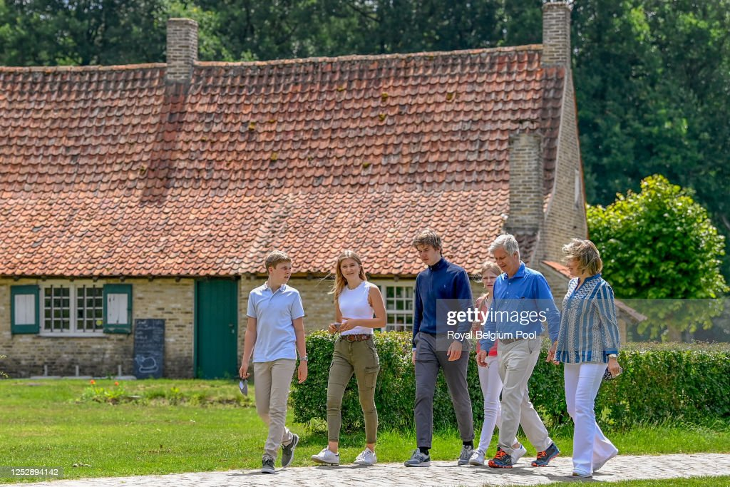 King Philippe Of Belgium, Queen Mathilde And their children Visit A Touristic Spot In The Province Of Limbourg : News Photo