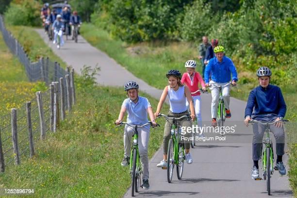 King Philippe of Belgium, Queen Mathilde of Belgium, Princess Elisabeth of Belgium, Prince Gabriel of Belgium , Prince Emmanuel of Belgium and...