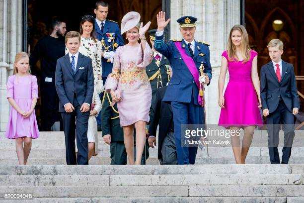King Philippe of Belgium Queen Mathilde of Belgium Princess Elisabeth of Belgium Prince Gabriel of Belgium Prince Emmanuel of Belgium and Princess...