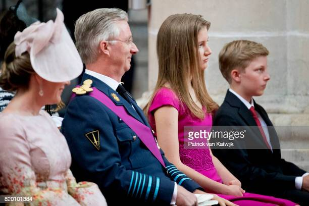 King Philippe of Belgium Queen Mathilde of Belgium Princess Elisabeth of Belgium and Prince Emmanuel of Belgium attend the Te Deum mass on the...