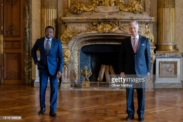 King Philippe of Belgium receives in audience President of the Republic of Togo Faure Gnassingbé in the Royal Palace on May 20, 2021 in Brussels,...