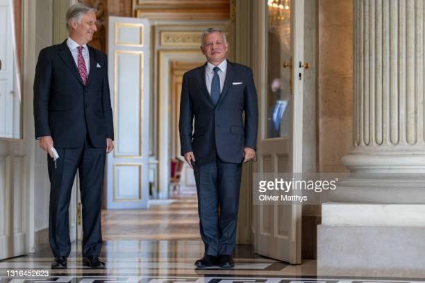King Philippe of Belgium receives King Abdullah II Ibn Al Hussein of Jordan at the Royal Castle on May 05, 2021 in Brussels, Belgium. King Abdullah...