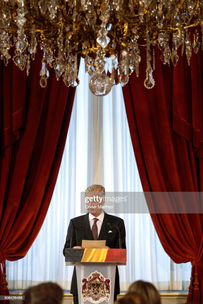 King Philippe Of Belgium and Queen Mathilde Receive the Belgian Authorities At the Royal Palace in Brussels : News Photo