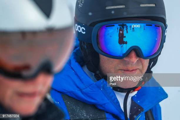 King Philippe of Belgium skies during family skiing holidays on February 12 2018 in Verbier Switzerland