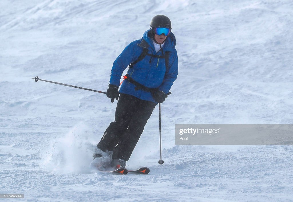 King Philippe of Belgium skies during ski holidays on February 12, 2018 in Verbier, Switzerland.