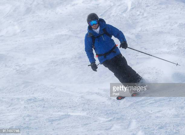 King Philippe of Belgium skies during ski holidays on February 12 2018 in Verbier Switzerland