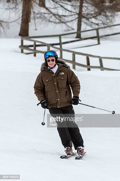 King Philippe of Belgium skis during their family skiing holiday on February 08 2016 in Verbier Switzerland