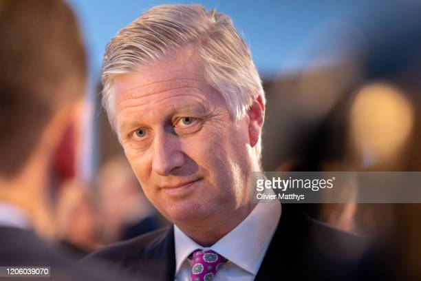 King Philippe of Belgium talks with FEB staff the 125th anniversary celebration of the Federation of Enterprises FEB at the Bozar palace on February...