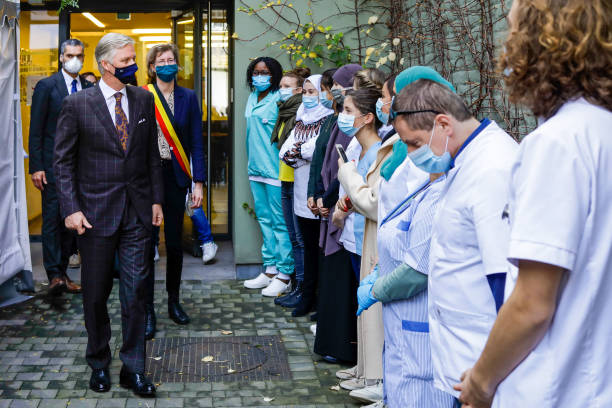 BEL: King Philippe Of Belgium Visits District Health Center The Bridge In Brussels