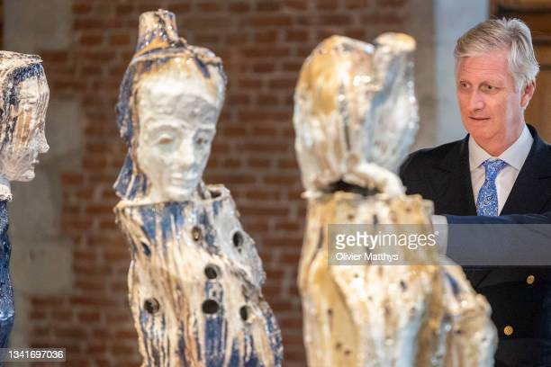 King Philippe of Belgium visits the Johan Tahon Universus exhibition in the MOU Museum on September 21, 2021 in Oudenaarde. The retrospective...