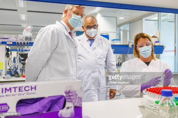 King Philippe of Belgium visits the lab and headquarters of Janssen Pharmaceutica, a Johnson & Johnson subsidiary developing a covid-19 vaccine...