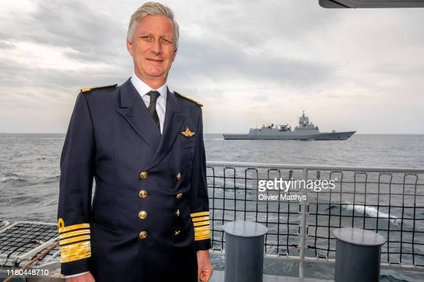 King Philippe of Belgium visits the Leopold I frigate of the Belgian Navy, part of the Standing Gibraltar Maritime Group I, on in the Street of...