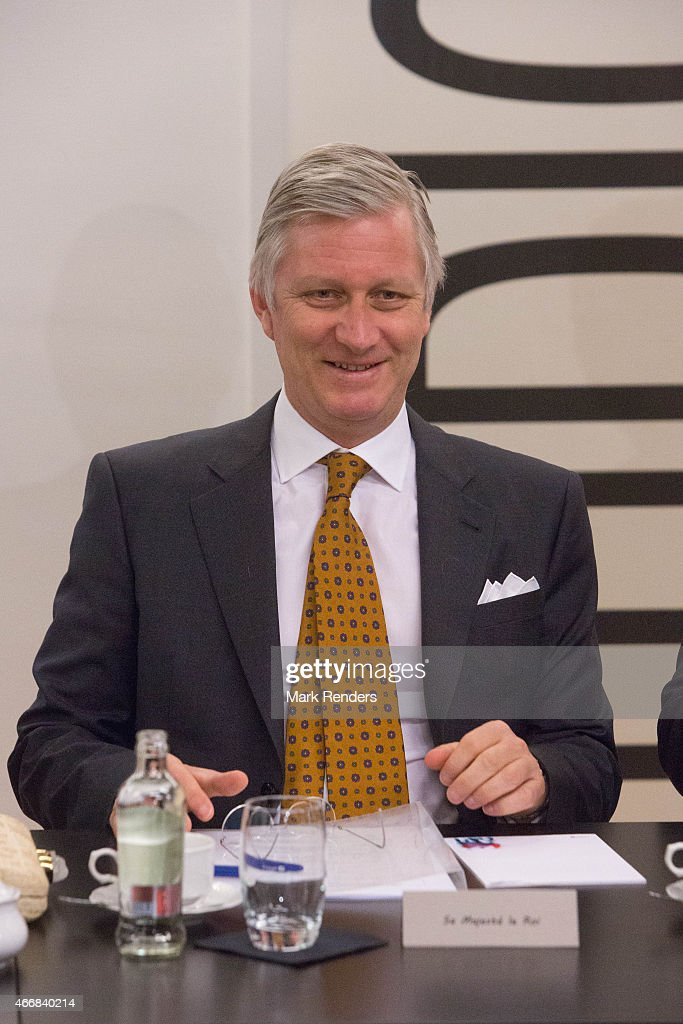 King Philippe of Belgium visits the RTBF studio on March 19, 2015 in Brussels, Belgium.