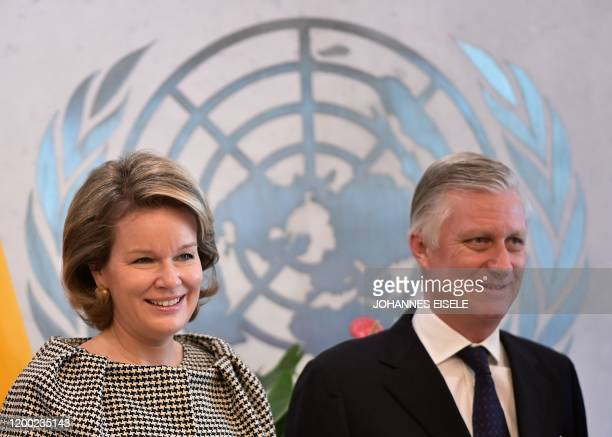 King Philippe of Belgium,and Queen Mathilde of Belgium arrive for a meeting with United Nations Secretary-General Antonio Guterres at the UN...
