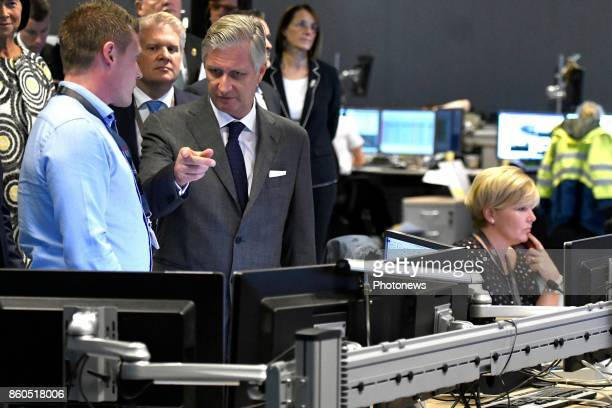 King Philippe pictured visiting the office of Brussels Airport