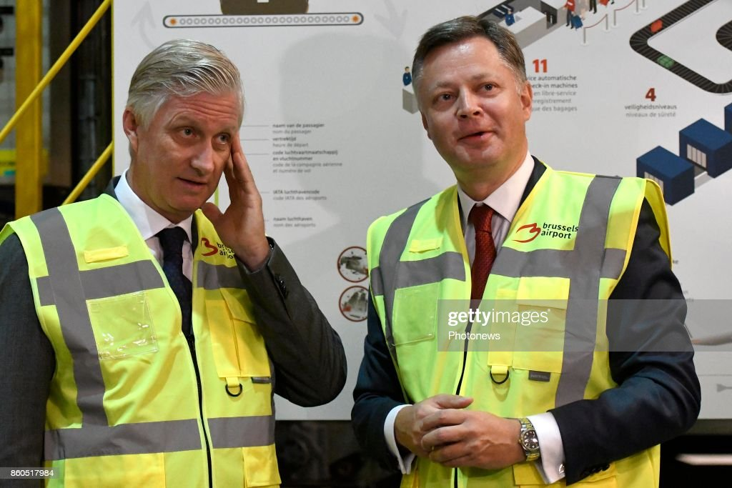 Visit of King Philippe to Brussels Airport and Deloitte Company : News Photo