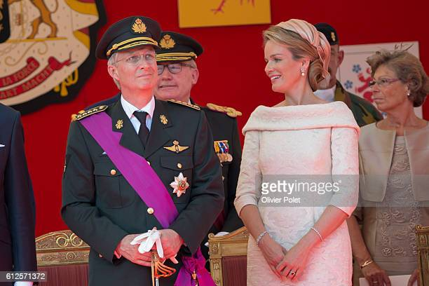 King Philippe, queen Mathilde mathilde, pictured during the military parade of the troops of the Belgian Army on the Belgian National Day, Sunday 21...