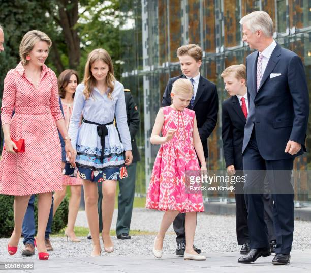 King Philippe, Queen Mathilde, Princess Elisabeth, Prince Gabriel, Prince Emmanuel and Princess Eleonore of Belgium attend the 80th birthday...