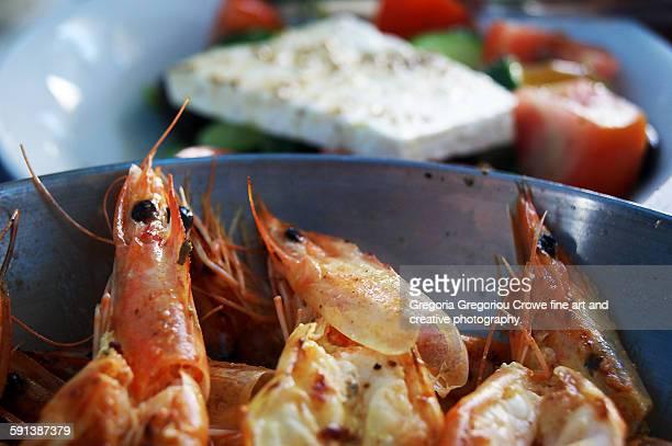 king prawn and greek salad - gregoria gregoriou crowe fine art and creative photography stockfoto's en -beelden