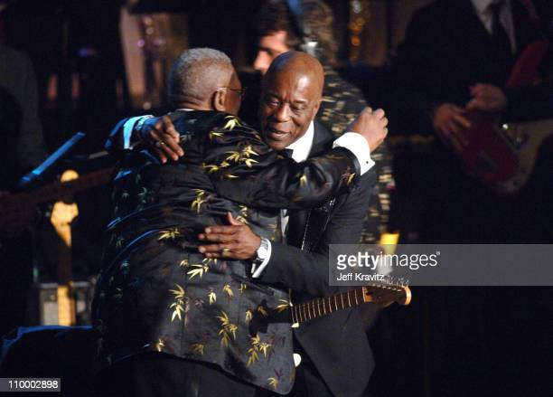 King, presenter, and Buddy Guy, inductee during 20th Annual Rock and Roll Hall of Fame Induction Ceremony - Show at Waldorf Astoria Hotel in New York...
