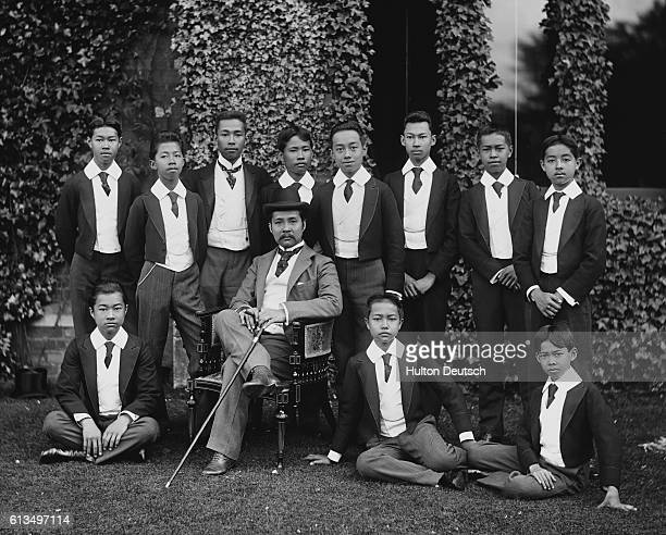 King Rama V better known as King Chulalongkorn of Siam poses with the Crown Prince and other young students An advocate of modernization in Siam King...