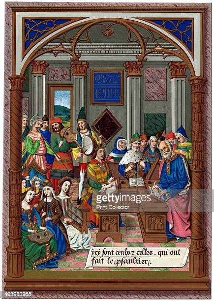'King Rene and his Musical Court' 15th century A miniature from the breviary of King Rene in the Arsenal Library Paris A chromolithographic print...