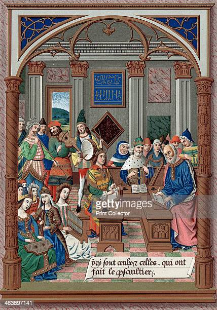 King Rene and his musical court 15th century Rene Duke of Anjou and Lorraine King of Naples Jerusalem and Sicily The writing on the back wall refers...
