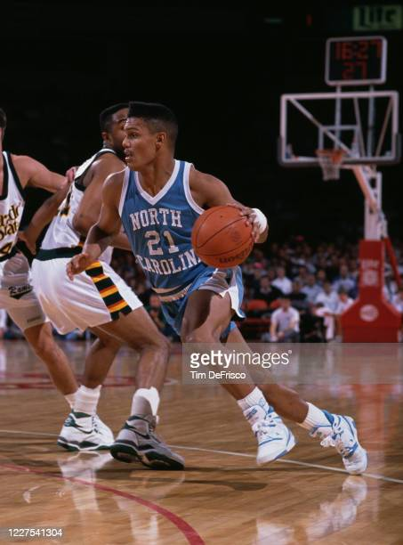 King Rice Guard for the University of North Carolina Tar Heels dribbles the ball during the NCAA Western Athletic Conference college basketball game...
