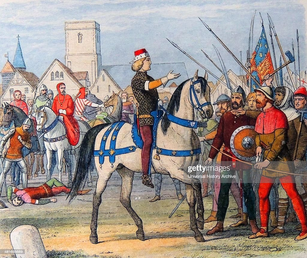 King Richard II of England assumes the command of the rebels 1381 A.D. :  News Photo