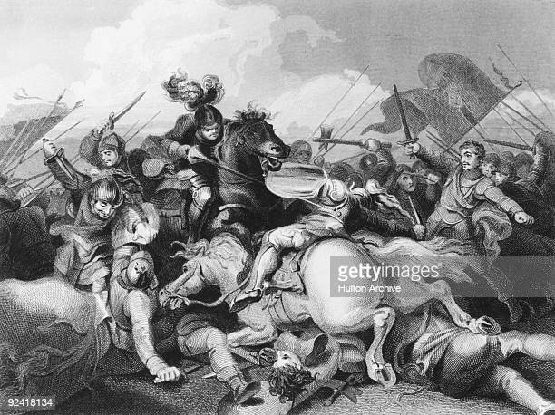 King Richard III's Yorkist troops fight Lancastrians in the Battle of Bosworth Field during the Wars of the Roses 22nd August 1485 King Richard III...
