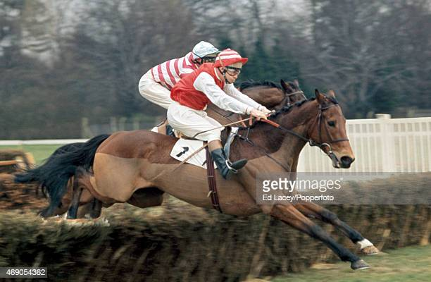 J King riding Brandenburg in action during the Lime Open at Sandown Park Racecourse in Esher Surrey on 12th March 1971