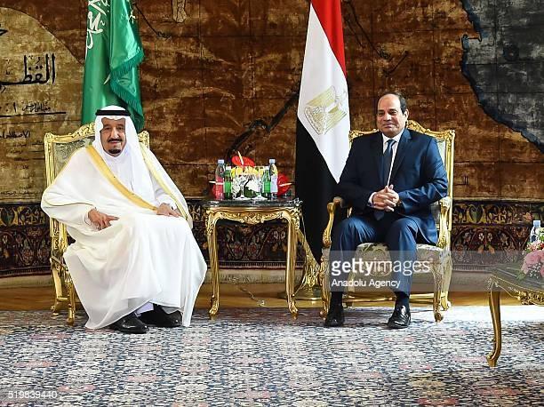 King Salman bin Abdulaziz Al Saud of Saudi Arabia attends a meeting with the President of Egypt Abdel Fattah elSisi at the Egyptian Presidential...