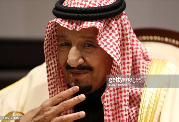 King Salman bin Abdulaziz Al Saud of Saudi Arabia during talks with UK Prime Minister Theresa May while they attend the first ArabEuropean Summit on...
