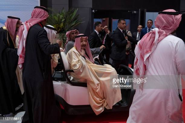 King Salman bin Abdulaziz Al Saud of Saudi Arabia makes his way off after the family photo during the first ArabEuropean Summit on February 24 2019...