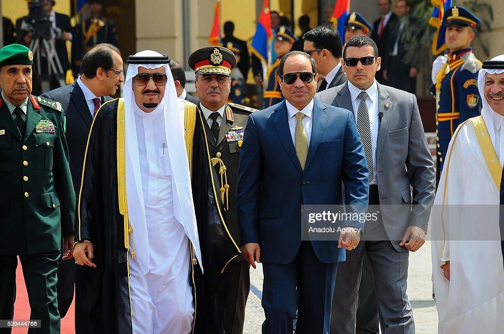 King Salman bin Abdulaziz Al Saud of Saudi Arabia leaves Cairo : News Photo
