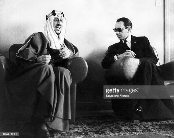 King SEOUD of Arabia with King HASSAN II in conversation at Rabat during the Arabian leader's recent visit to Morrocco