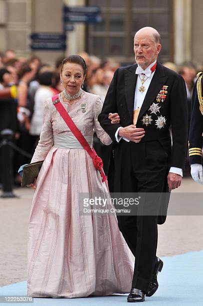 King Simeon and Queen Margarita of Bulgaria attend the wedding of Crown Princess Victoria of Sweden and Daniel Westling on June 19 2010 in Stockholm...