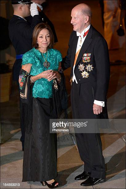 King Simeon II and Queen Margarita of Bulgaria arrive at the Gala Dinner for the wedding of Prince Guillaume Of Luxembourg and Stephanie de Lannoy at...