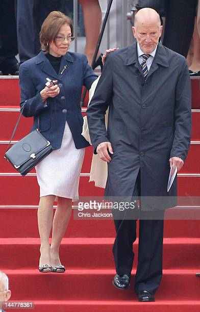 King Simeon II of Bulgaria and Queen Margarita of Bulgaria attend the Armed Forces Parade and Muster on May 19 2012 in Windsor England Over 2500...