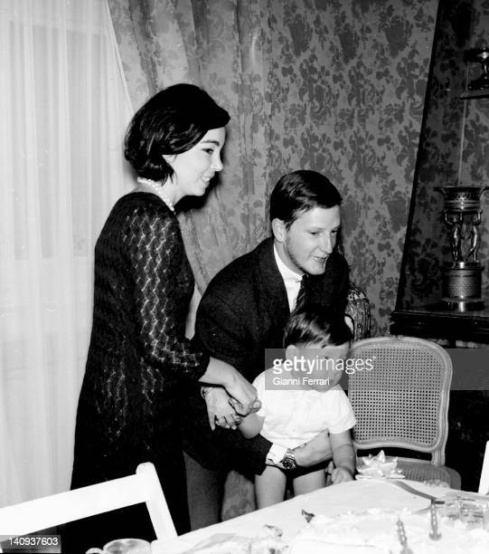 King Simeon of Bulgaria and his wife Margarita Gomez Acebo in the birthday of their first child Kardam Madrid, Spain.
