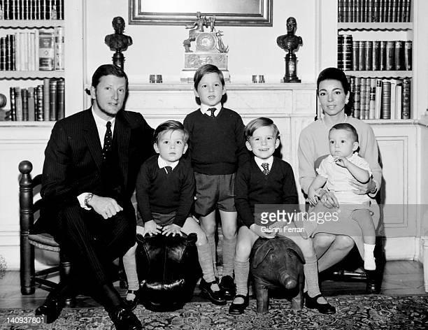 King Simeon of Bulgaria and his wife Margarita Gomez Acebo with their children Kirill, Kardam, Kubrat and Konstantin Madrid, Spain.