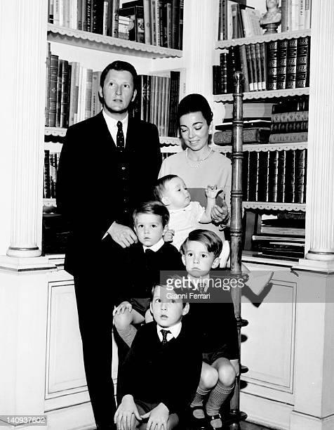 King Simeon of Bulgaria and his wife Margarita Gomez Acebo with their children Konstantin, Kirill, Kubrat and Kardam Madrid, Spain.