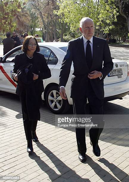 King Simeon of Bulgaria and Queen Margarita Gomez-Acebo attend the funeral chapel for Prince Kardam of Bulgaria on April 7, 2015 in Madrid, Spain.