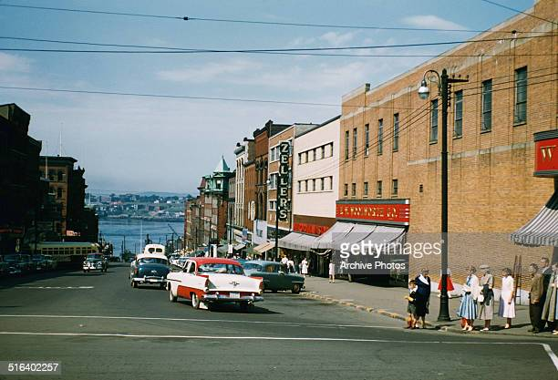 King Street in Saint John New Brunswick Canada with Zeller's and the Woolworth Company store on the right 1958