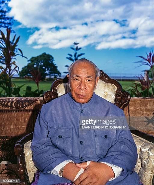 King Taufa'ahau Tupou IV sets an example for his country to exercise in Nuku'Alofa, Tonga.