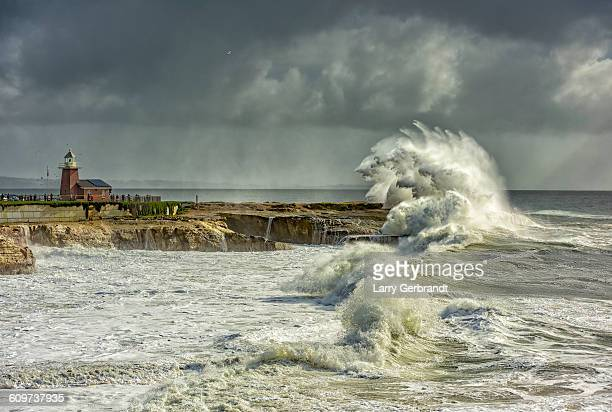 King Tide waves batter Santa Cruz Lighthouse point