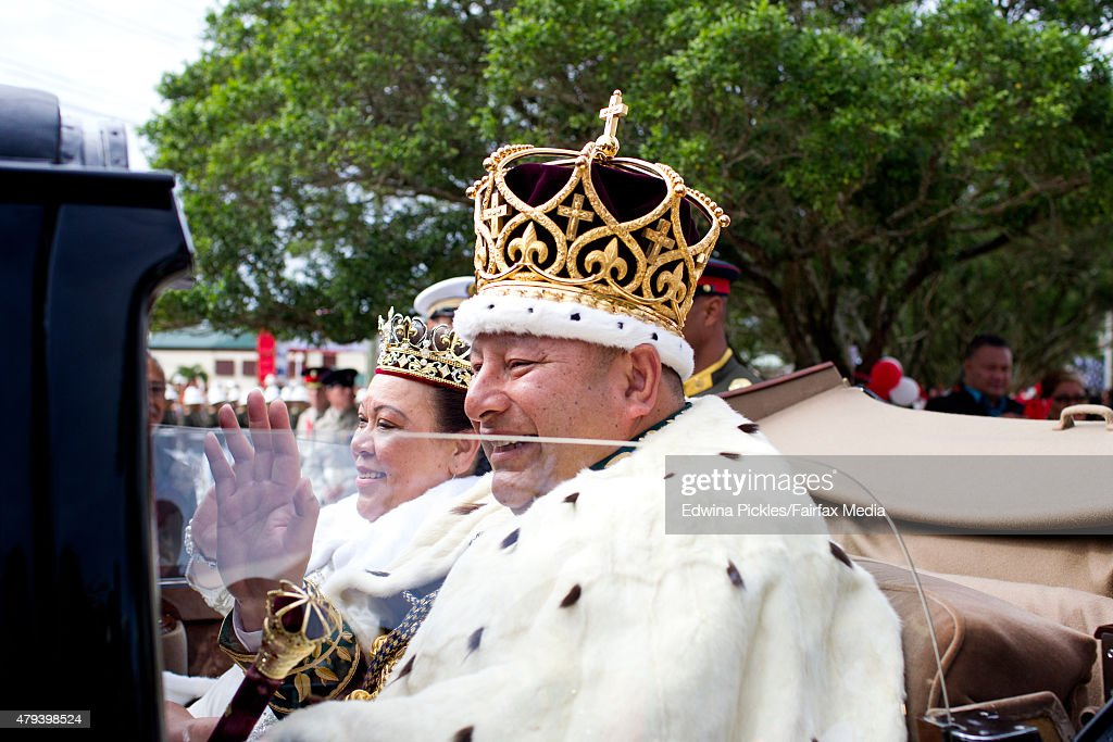 King Tupou VI and Queen Nanasipau'u proceed through the streets to the Royal Palace during the official coronation ceremony on July 4, 2015 in Nuku'alofa, Tonga. Tupou VI succeeds his brother, King Tupou V, who passed away in 2012.