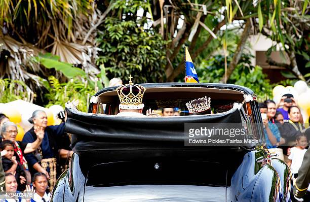 King Tupou VI and Queen Nanasipau'u proceed through the streets to the Royal Palace during the official coronation ceremony on July 4, 2015 in...