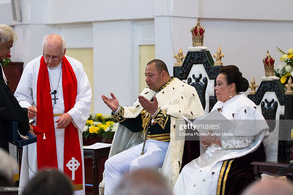 King Tupou VI of Tonga and Queen Nanasipau'u sit on their throne during the official coronation ceremony at the Free Wesleyan Church on July 4, 2015 in Nuku'alofa, Tonga. Tupou VI succeeds his brother, King Tupou V, who passed away in 2012.